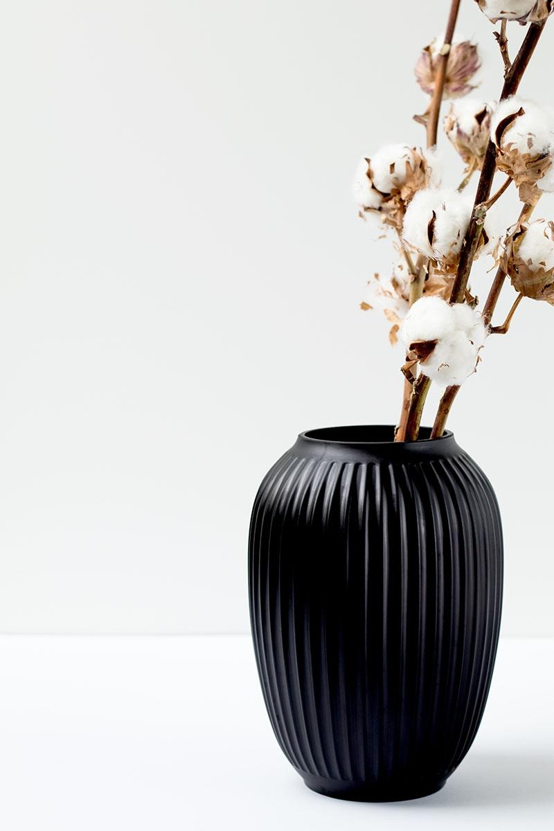 Vaso con rami di cotone